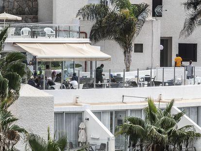 Migrants at a hotel in Puerto Rico, in Las Palmas de Gran Canaria, in Spain's Canary Islands, last October.