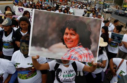 A demonstration in Tegucigalpa in remembrance of Berta Cáceres.