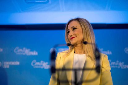 Madrid regional premier Cristina Cifuentes speaking at the PP convention in Seville on Friday.