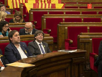 The Catalan parliament session on Friday, where the vote on an independence declaration took place.