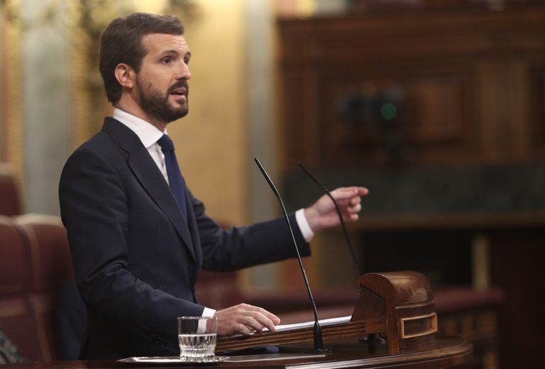 Popular Party leader Pablo Casado in Congress on Thursday.