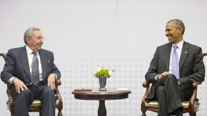Raúl Castro and Barack Obama at their historic meeting in Panama in April.