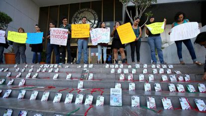 A protest against the murder of journalists in Guadalajara (Mexico).