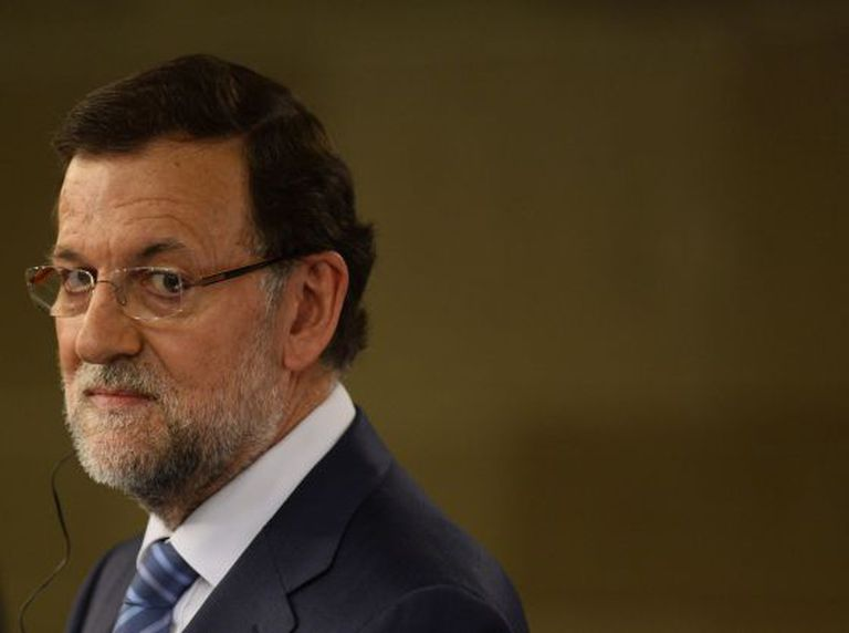Rajoy during the press conference with his Romanian counterpart Victor Ponta at La Moncloa palace in Madrid on Monday.