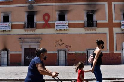 The Municipal Palace in Fresnillo was burned during a protest over the killing of a young girl.