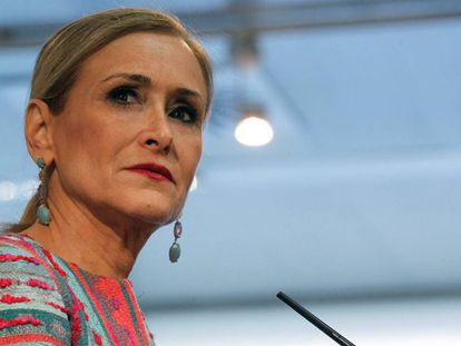 Madrid premier Cristina Cifuentes at the regional assembly.