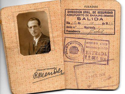 Rafael Méndez's passport in 1936.