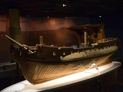 A model of the 'Nuestra Señora de las Mercedes' warship.