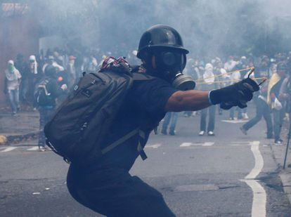 Protesters on the streets of Caracas, Monday.