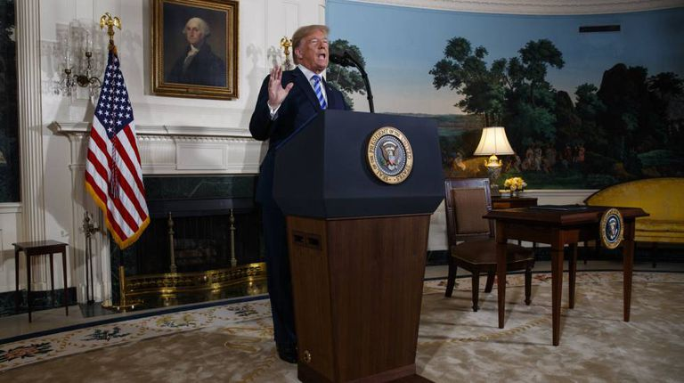 US President Donald Trump announcing his withdrawal from the Iran deal.