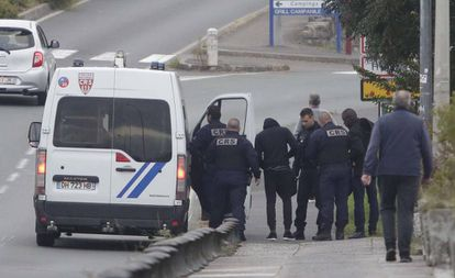 French police intercept migrants in the border town of Irun.