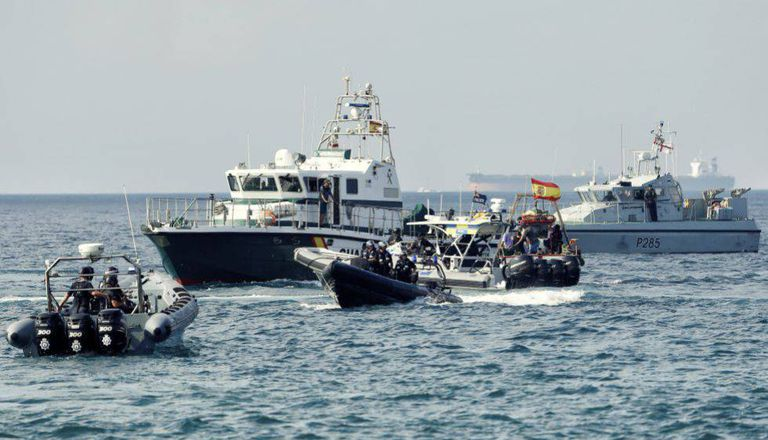 Spanish Civil Guard and Gibraltar Police vessels in disputed waters.