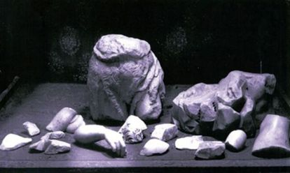 Fragments recovered after the piece was destroyed.