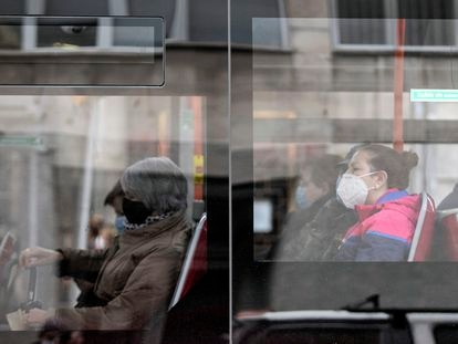 Passengers wearing face masks on a bus in the Spanish city of Burgos.