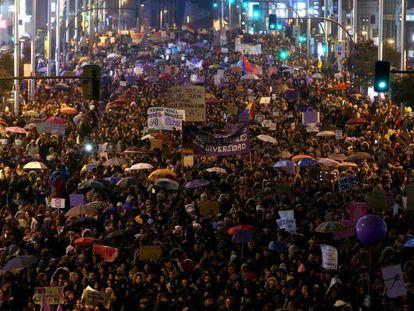 The demonstration in Madrid passes through Gran Vía on Thursday night.