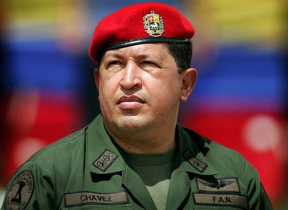 Hugo Chávez attending a military parade in Caracas in 2005.