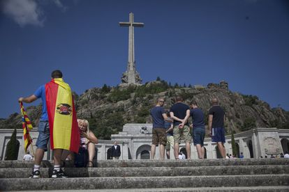 Demonstrators gathered at the Valley of the Fallen to protest the government's plans to exhume the remains of dictator Francisco Franco from the controversial monument north of Madrid.