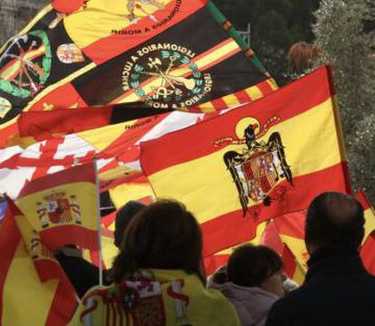 Supporters of fascist-inspired political party Falange attended the march with the pre-constitutional Spanish flag.