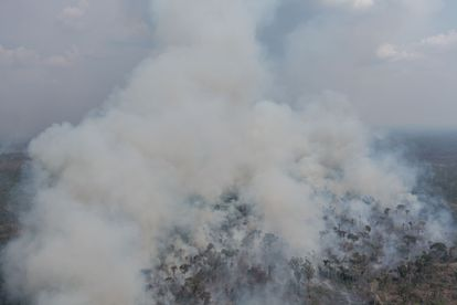 A fire inside the Jaci Paraná Extractive Reserve in Porto Velho.