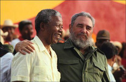 Mandela with Castro, in Matanzas, Cuba in 1991.