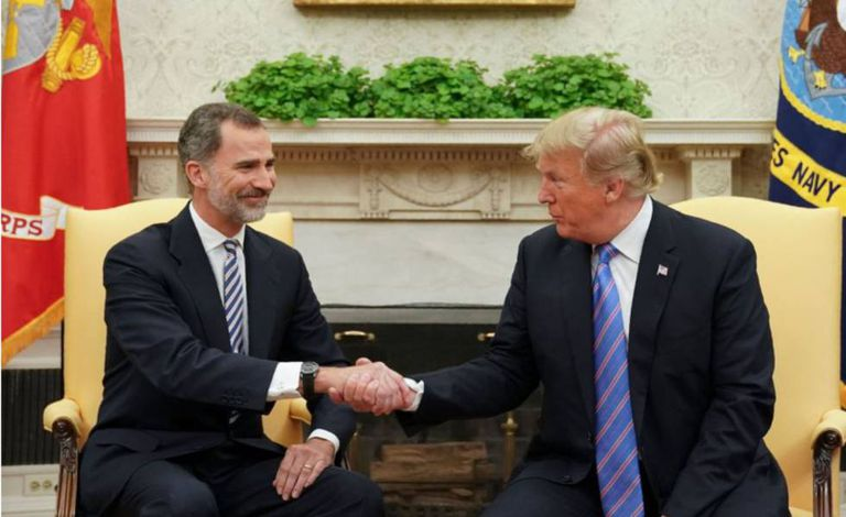 Spain's King Felipe VI with US President Donald Trump at the White House in June 2018.