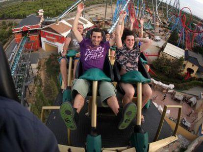 Visitors brave the 'Shambhala' rollercoaster at PortAventura.