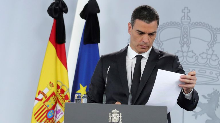 Prime Minister Sánchez during today's press conference.