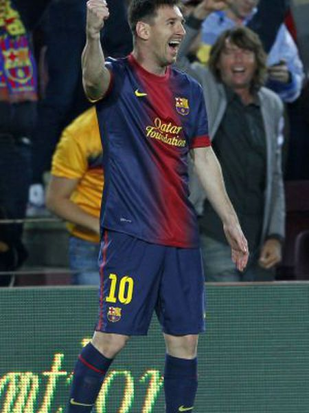 Barcelona's Lionel Messi celebrates a goal against Real Betis during their match at Camp Nou stadium on Sunday.
