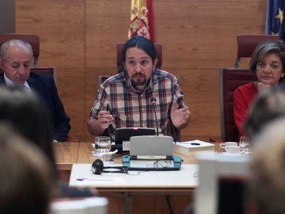Pablo Iglesias in the Senate on Thursday.