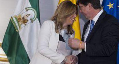 Susana Díaz became Andalusian premier with help from Ciudadanos' Juan Marín.