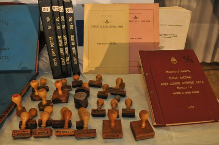 Part of the trove of documents found in the basement of the Argentinean Air Force's headquarters.