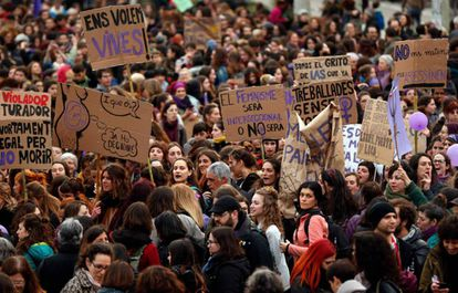 Slogans on display during the March 8 protest in Barcelona.