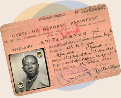 José Epita Mbomo's card as a deported member of the French Resistance, issued by France in 1954. FAMILY ARCHIVE