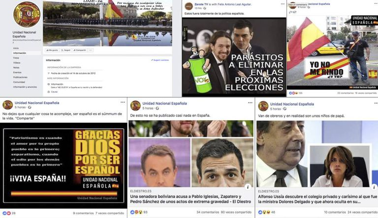 Post on the Facebook pages Unidad Nacional Española and Zarote TV, which were removed by Facebook.