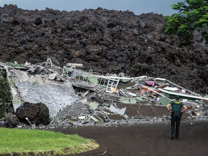 Homes destroyed by the lava in Todoque, on the Spanish island of La Palma, on Wednesday.