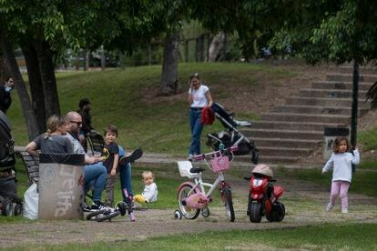 Families in a park in Seville on Sunday, the first day children were allowed out since May 14.