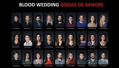 The cast of 'Blood Wedding' at The Cervantes Theatre in London.