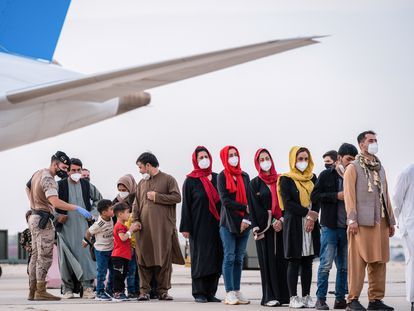 Arrivals from Afghanistan at the Torrejón de Ardoz air base in Madrid on Tuesday.