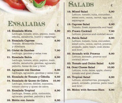 The salad menu at the Bahía restaurant.
