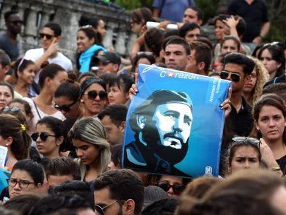 People gather in Havana on Saturday to remember Fidel Castro.