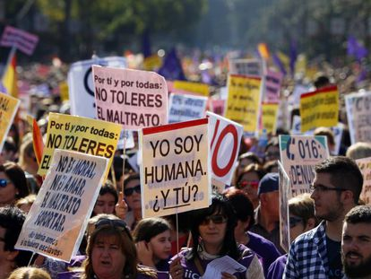 A march in Spain protesting violence against women.