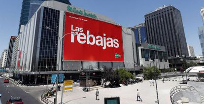 A sign advertising sales at the department store El Corte Inglés in the Madrid neighborhood of Nuevos Ministerios.