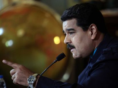 Venezuelan President Nicolás Maduro addresses the nation on Monday.