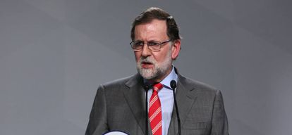 Rajoy addresses reporters on Monday in Madrid.