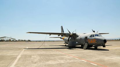 A Spanish aircraft participating in Operation Sophia at the Sigonella airbase in Sicily.
