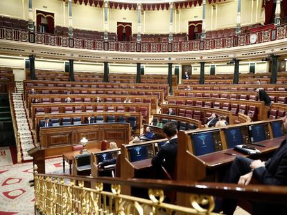 A near-empty Congress of Deputies on Wednesday morning.