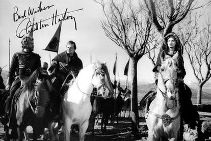 A signed photo of Charlton Heston and Sofia Loren during the shoot in Spain of El Cid.