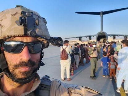Captain Javier Escorihuela at Kabul airport during the evacuation mission.