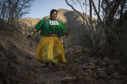 Tarahumara runners wear the traditional clothes from their respective communities. Women usually wear brightly colored skirts and blouses.