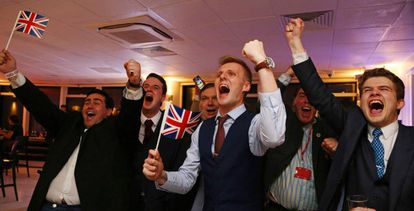 Brexit supporters celebrate Thursday's result.